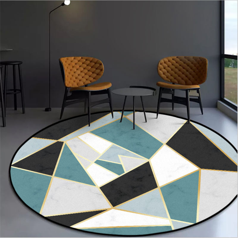 Rugs And Carpets For Home Living Room Blue Black Irregular Pattern Round Carpet Christmas Rug Area Rug For Bedroom