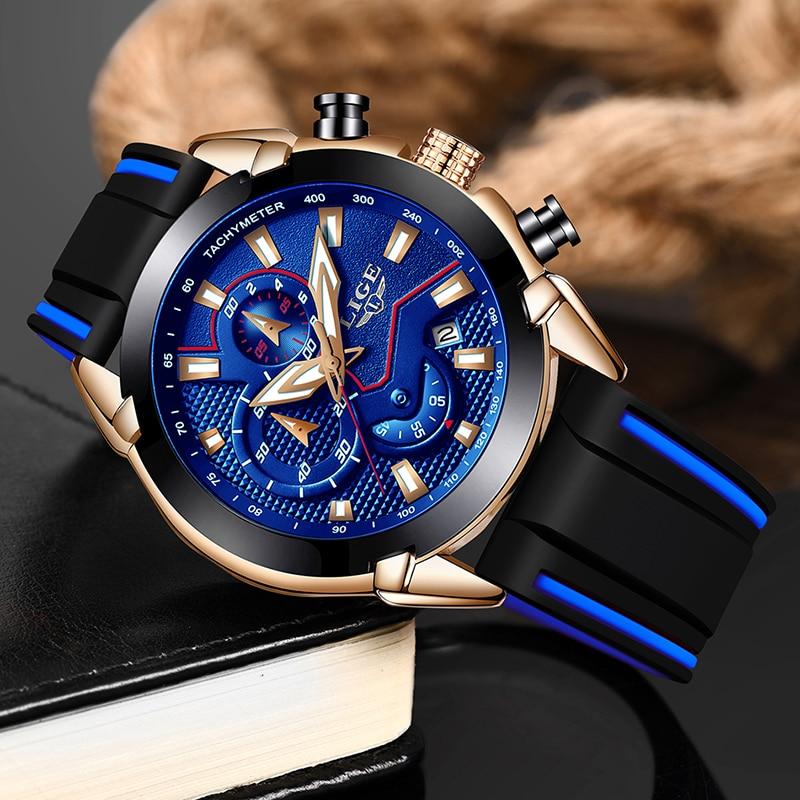 LIGE Men Sport Clock Dropshipping Luminous Waterproof Quartz Watch Men Multifunction Chronograph Wrist Watch Wholesale Price