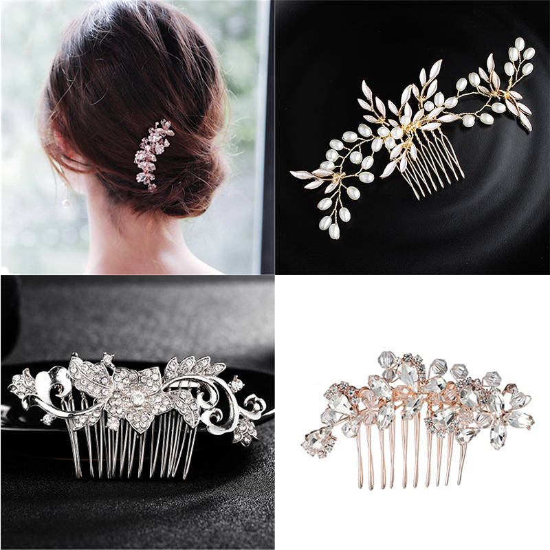 Crystal Bridal Hair Combs Ziron Women Jewelry Accessories Beauty Handmade Bride Headwear Silver Headcomb Charms Bridal Headdress