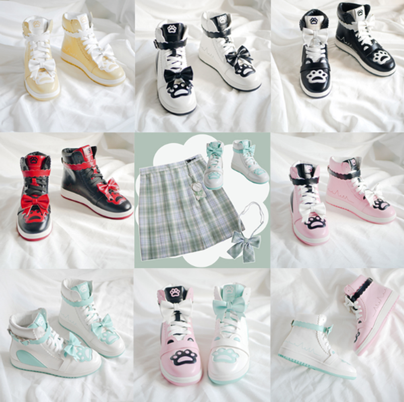lacing <font><b>women</b></font> shoes cute bowknot printing kawaii shoes <font><b>loli</b></font> cosplay Japanese sweet student lolita shoes vintage round head image