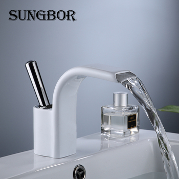 Basin Faucets White Mixer Tap Bathroom Faucet Hot and Cold Chrome Finish Brass Toilet Sink Water Crane torneira AL-7413