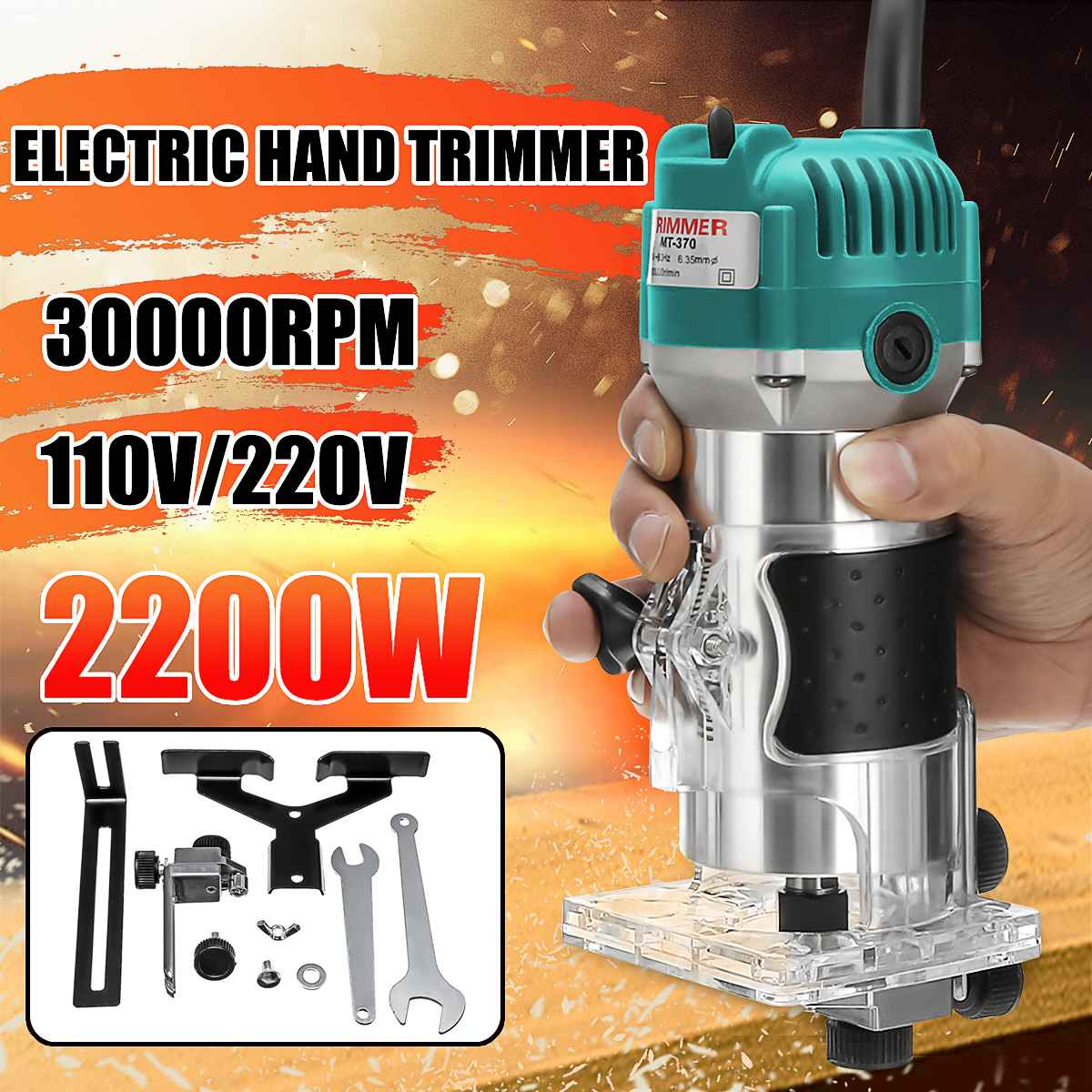 110V/220V 2200W 6.35mm Electric Hand Trimmer Wood Laminate Palms Router Joiners Router Copper Motor Carving Machine DIY Tools
