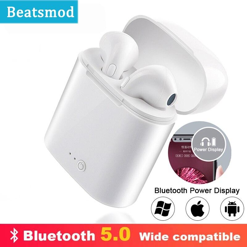 I7s TWS беспроводные наушники Bluetooth наушники I7 5,0 спортивные стерео наушники гарнитура с зарядным устройством для iPhone Xiaomi huawei LG