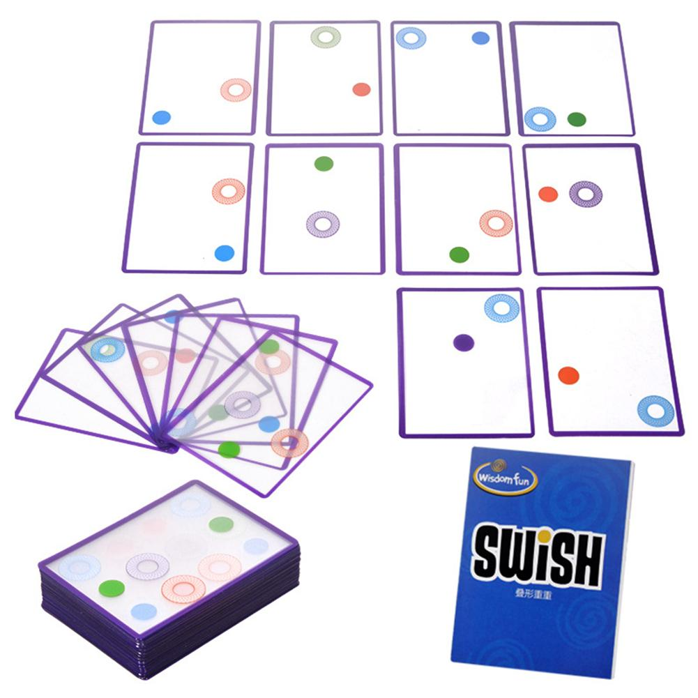 60pcs Multiple Overlapping Swish Transparent Cards Excellent ABS Plastics Prolonged Durable Game Kid Spatial Logical Puzzle Toy