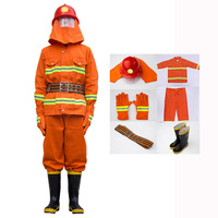 Fire Fighting Suit Safety Clothes Fireproof Flame retardant Protective Clothing Miniature Fire Station Equipment 6 Pieces Suit
