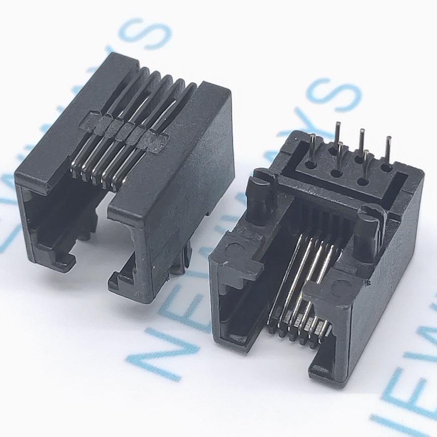 50PCS/Lot RJ11 Socket RJ12 Telephone 90 Degrees 6pin Crystal Female 95001-6p6c Socket