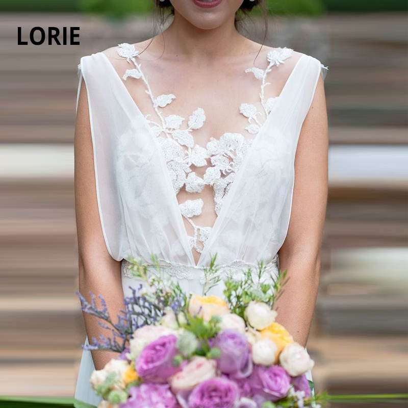 LORIE Elegant Beach Bridal Gowns 2019 New Lace Appliqued Sleeveless A-line Boho Wedding Dresses Bride Party Gowns With Train