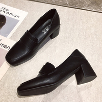 Spring New Black Pumps Women Shoes Fashion Slip On PU Leather High Heel Pumps Soft Comfort Square Heel Shoes Work Shoes Mujer