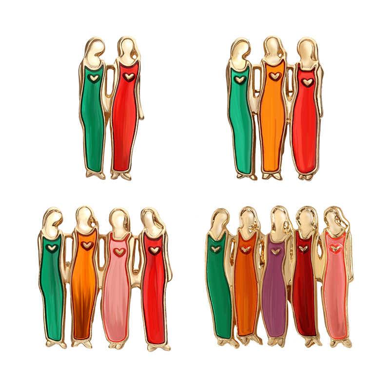 Sisters pimleri kız arkadaşı kalp emaye Pin ve broş kızlar Vintage kadın gömlek yaka korsaj rozet arkadaşlar için en iyi hediyeler takı