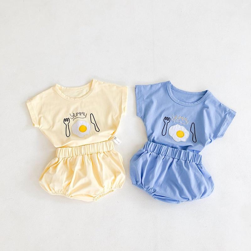 MILANCEL Baby Clothing Set Egg Tee And Solid Shorts 2 Pcs Baby Boys Clothes Summer Newborn Clothing Set
