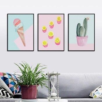 Arte della parete Rosa Cactus Ice Cream Poster E Stampe Still Life Tela di Canapa Pittura Complementi Arredo Casa Pittura Sulla Parete Per Soggiorno camera