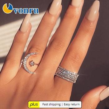 Anillo de dedo de apertura ajustable, diamantes de imitación de moda con personalidad femenina, anillo con forma de estrella creciente, bisutería regalos de cumpleaños AE Plus