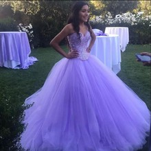 Ball-Gown Quinceanera-Dresses Lavender Beaded-Crystals Anos Tulle Sweetheart Vestidos-De-15