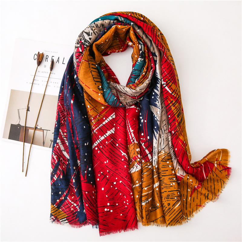 Autumn Fashion Aztec Ethnic Geometric Viscose Scarf Lady Print Soft Shawls And Wraps Pashmina Stole Bufanda Muslim Hijab Sjaal
