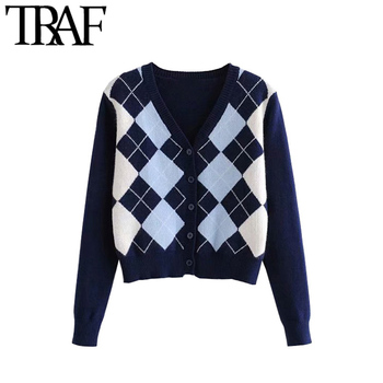 Vintage Stylish Geometric Pattern Short Knitted Sweater 1