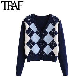 Vintage Stylish Geometric Pattern Short Knitted Sweater 1
