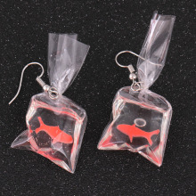 SexeMara 1Pair Kawaii Cartoon Resin Goldfish Imitation Water Bag Shape Charms Earrings Funny Cute Water Pouch Jewelry DIY Handma