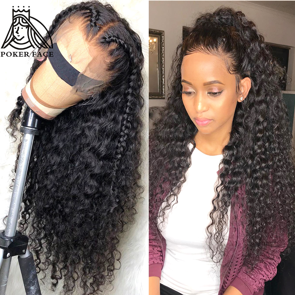 Poker Face Deep Wave 360 Lace Frontal Human Hair Wigs Nature Color Brazilian Hair Pre Plucked 10-30 Inch Wig Water Wave Non Remy