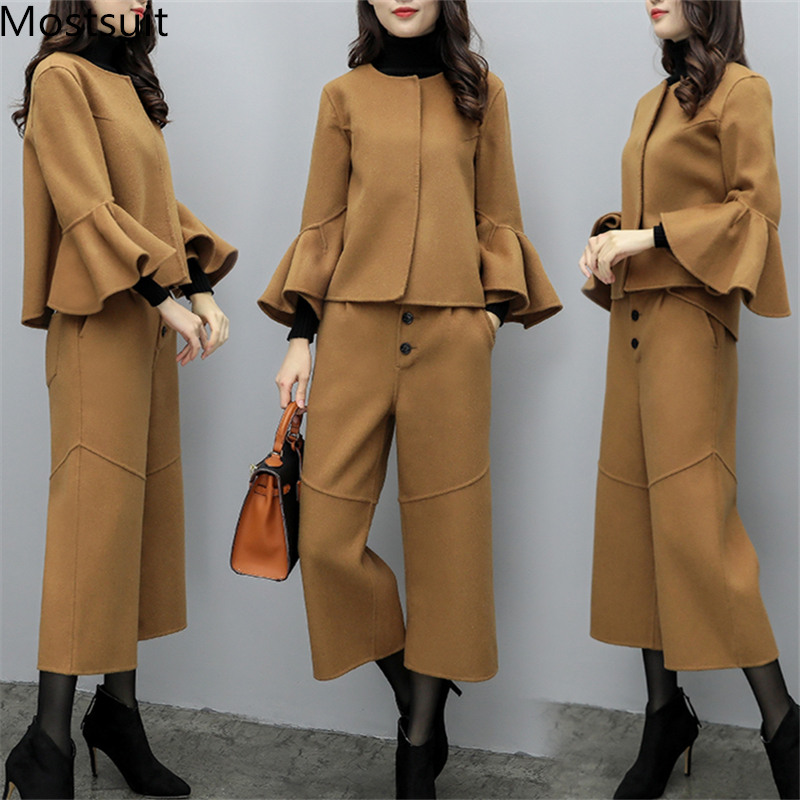 2019 Winter Woolen Elegant Two Piece Sets Outfits Women Plus Size Flare Sleeve Coat And Cropped Wide Leg Pants Suits Office Sets 33