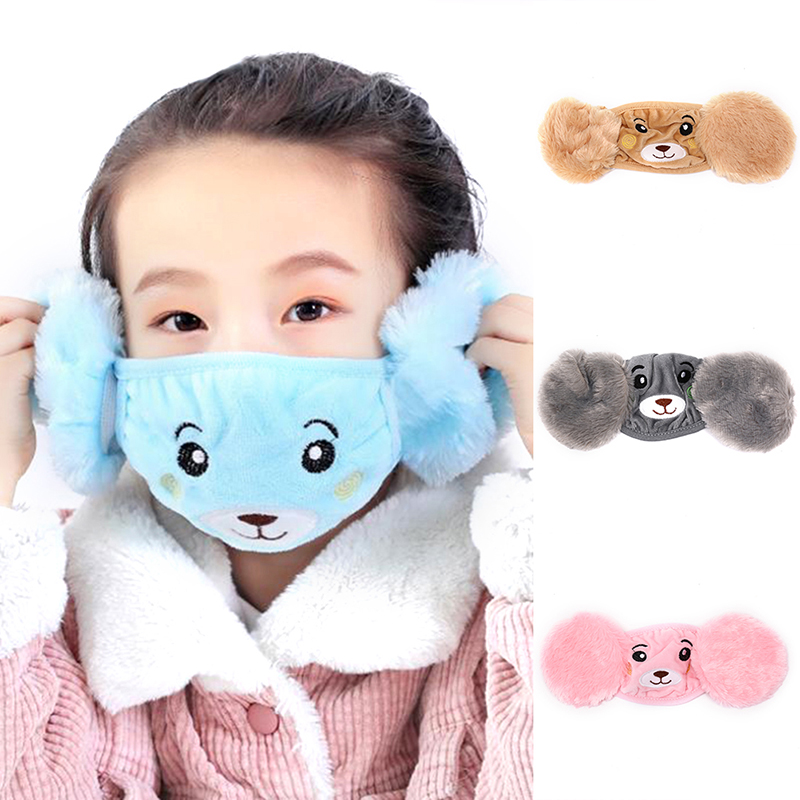 2019 Children Cartoon Autumn Winter Plush Ear Protectors Cotton Bear Warm Earmuffs Warm Mouth Mask Unisex Ear Cover