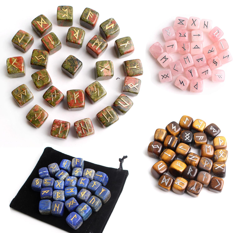 25 шт. натуральные чакры, различные кубические кристаллы, руны, металлическая наклейка, символ предсказаний, гадания, камни, восстанавливающ...