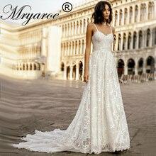 Mryarce רומנטי תחרה Boho חיצוני חתונה שמלה מתוקה גב פתוח ארוך רכבת שמלות כלה