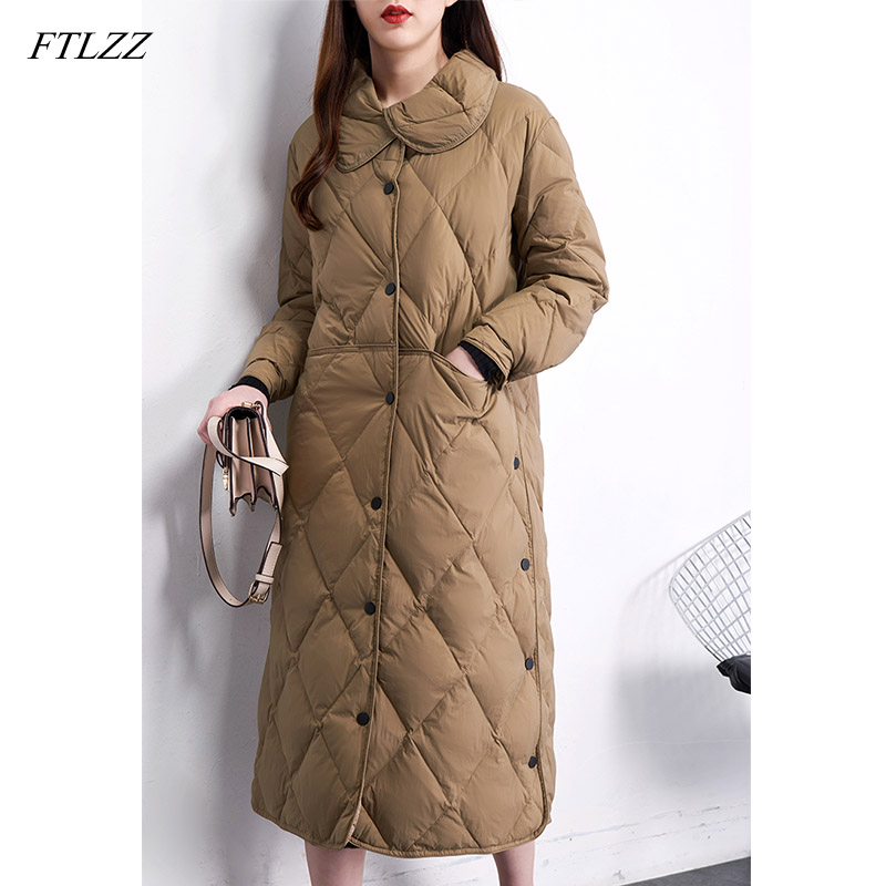 FTLZZ New Winter Stand Collar Long White Duck Down Jacket Women Single Breasted Parkas Khaki Black Down Snow Overcoat