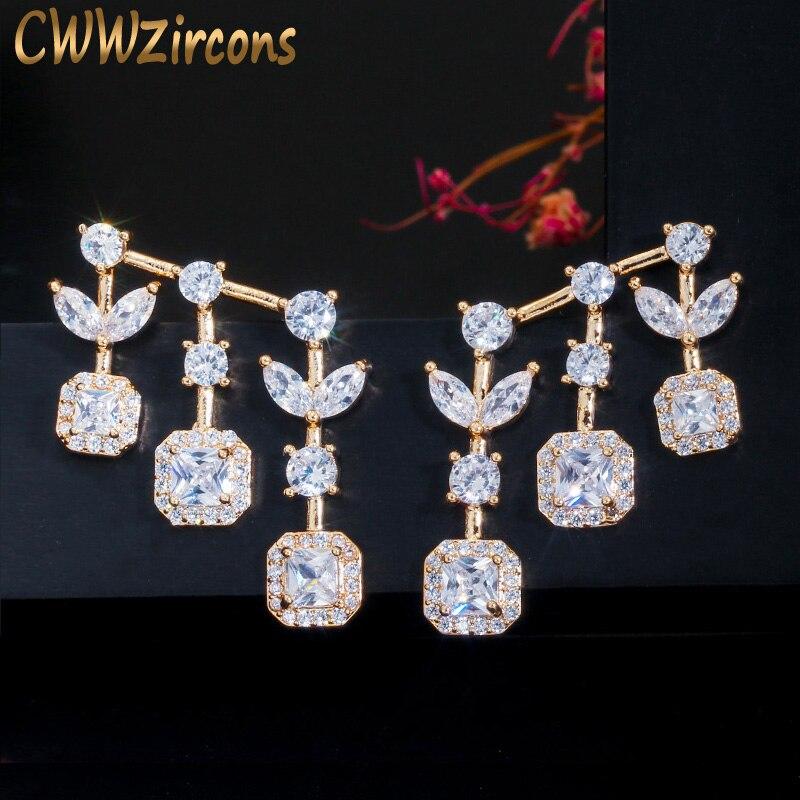 CWWZircons magnifique feuille et goutte carrée zircon cubique 585 couleur or boucle d'oreille pour les femmes marque de mode bijoux cadeau CZ623