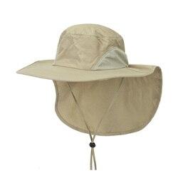 Czapka wędkarska z szerokim rondem czapka wędkarska letnia czapka przeciwsłoneczna zewnętrzna ochrona UV kapelusz typu bucket z klapą na szyję dla mężczyzn|Czapki wędkarskie|   -