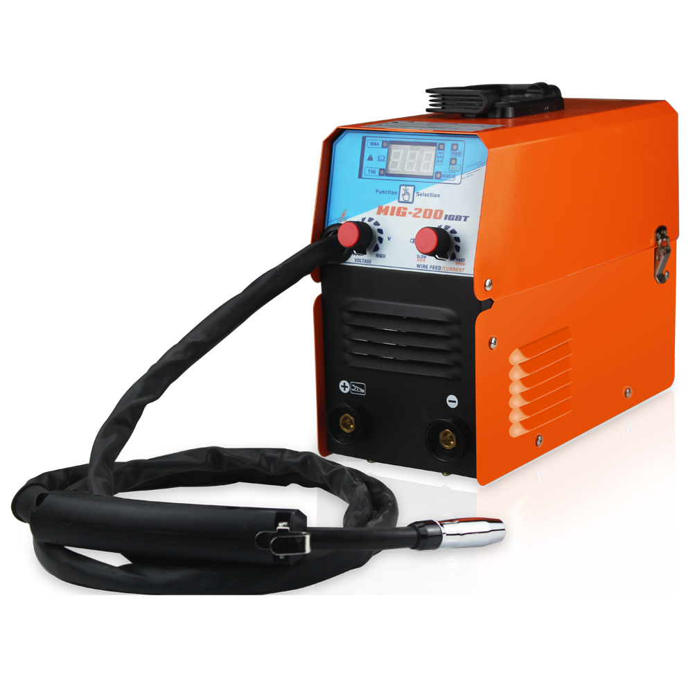 Mini MIG-200 AC220V IGBT MIG Welder MMA TIG 1 Phase Gasless Welding Machine Welding Equipment Soldering Tool
