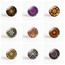 купить 5Pcs/lot Sri Yantra Mandala Sacred Geometry 25mm Photo Glass Cabochon Base Diy Pendant Brooch Handmade Jewelry Supplies дешево