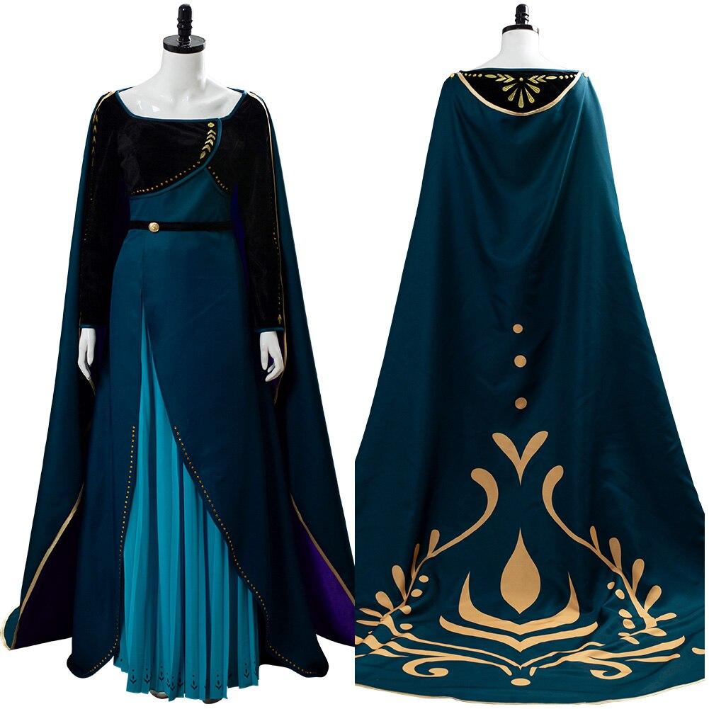 Queen Anna Coronation Cosplay Gown Dark Green Dress Costume Cape For Girls Women Halloween Costumes