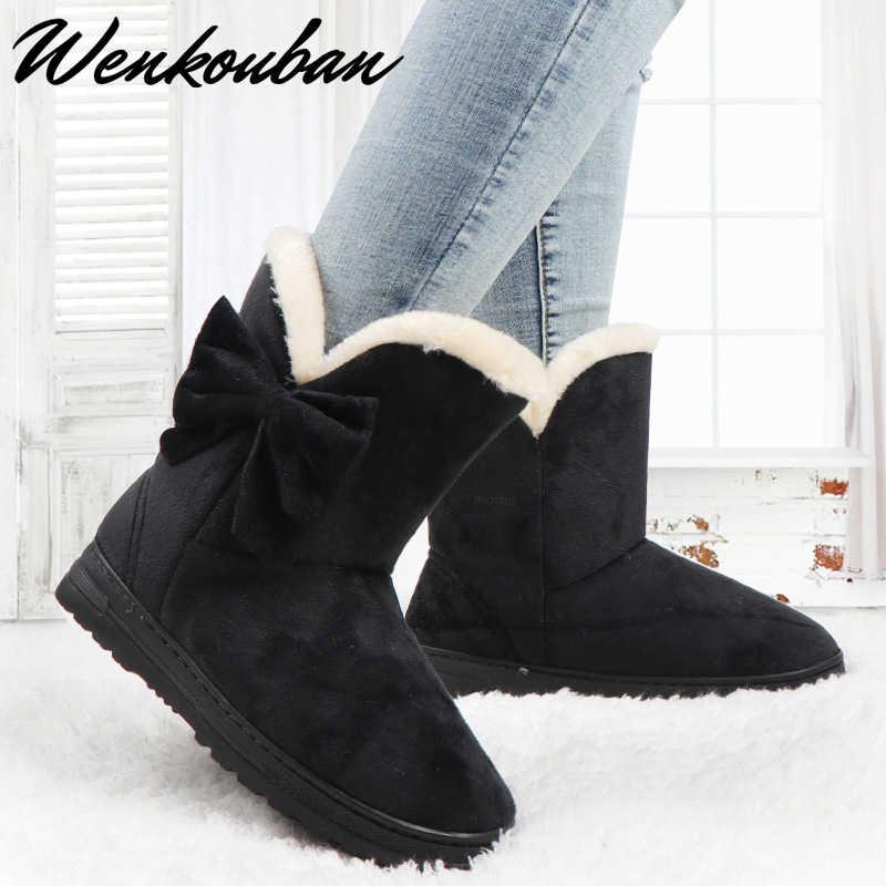 Kışlık botlar kadın kar botları bayanlar kış ayakkabı kadın platformu botları kadın kelebek botları sıcak yarım çizmeler şişeler Femme 2019