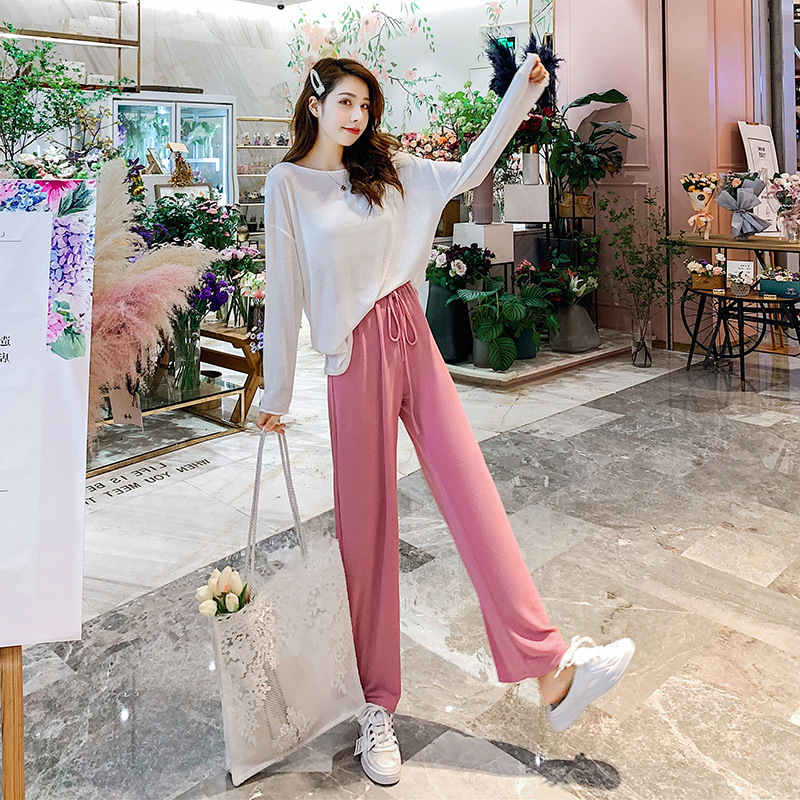 2019 Early Autumn New Style Korean-style Thin Blouse Casual Loose Pants Two-Piece Set Sweet GIRL'S CHIC Gentle Set