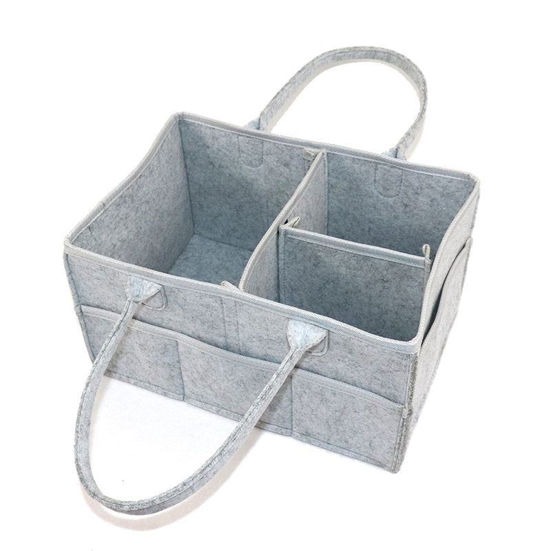 Baby Diaper Caddy Organizer Folding Storage Bin For Changing Table Tote Bag Portable Car Travel Storage Basket Light Gray