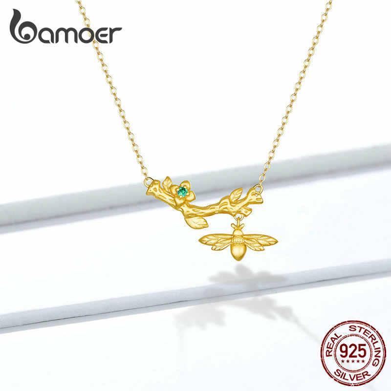 Bamoer ดอกไม้สาขา Bee Choker สร้อยคอต่างหูและแหวนเครื่องประดับชุดสำหรับผู้หญิง 925 เงินสเตอร์ลิงเครื่องประดับ GUS157