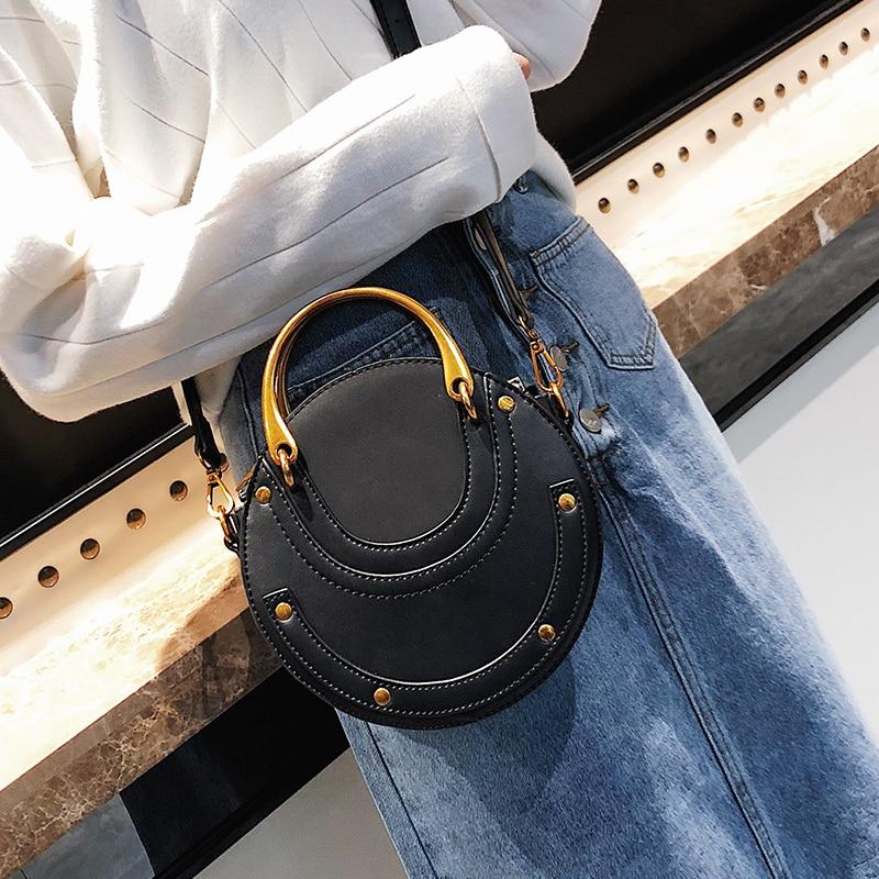 ZERO MORE Fashion Round Handbag Women Handbag Rivet Summer Lady Fashion Shoulder Messenger Bag Luxury Designer Leather Women Bag in Shoulder Bags from Luggage Bags