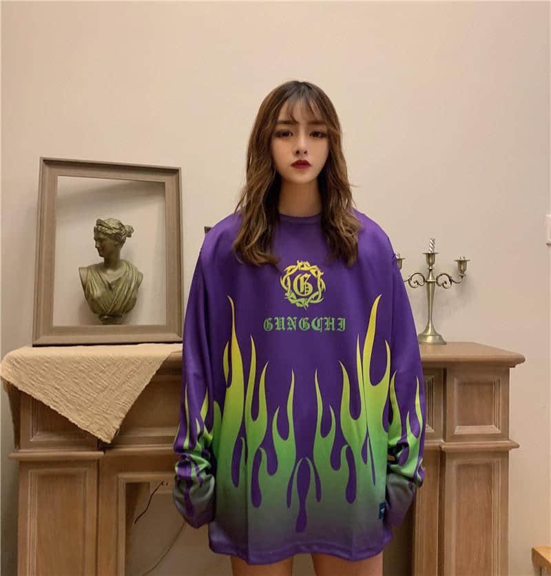 NiceMix Print Oversize Autumn Fire Flame New Women's Clothing Harajuku Style Ulzzang Loose Long Sleeve Hoodies Sweatshirts