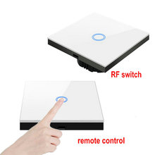 купить wireless remote control switch transmitter 1/2/3/gang 2 way touch wall light switch RF433 smart switch with crystal glass panel дешево