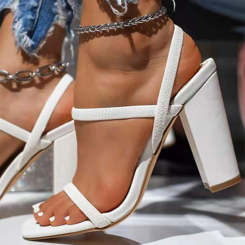 Women Sandals Pumps Summer Fashion Open Toe High Heels Shoes Female Thin Belt Thick Heels Party Casual Females 8/10cm Shoes W High Heels  - AliExpress