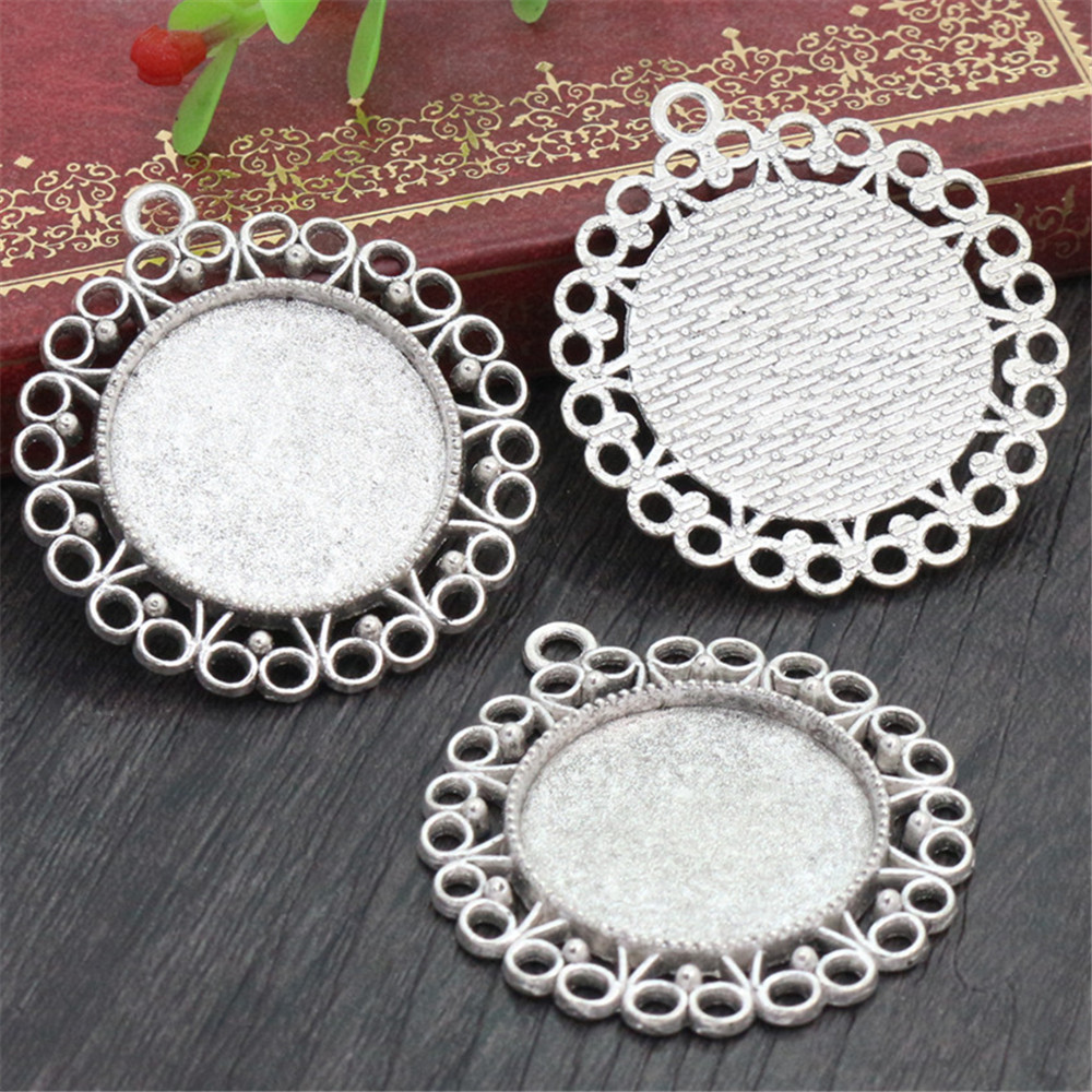 New Fashion  3pcs 25mm Inner Size Antique Silver Plated Fashion Style Cabochon Base Setting Charms Pendant (A3-28)