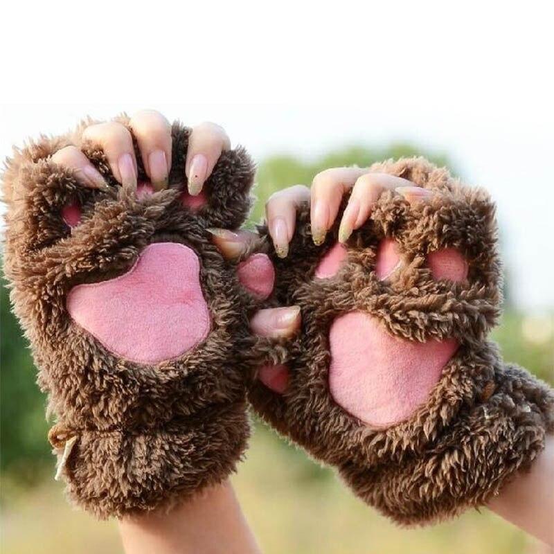 Winter Warm Gloves Cute Cat Claw Paw Plush Mittens Soft Lovely Women Gloves Half Finger Bear Claw Fingerless Mittens Girl Glove