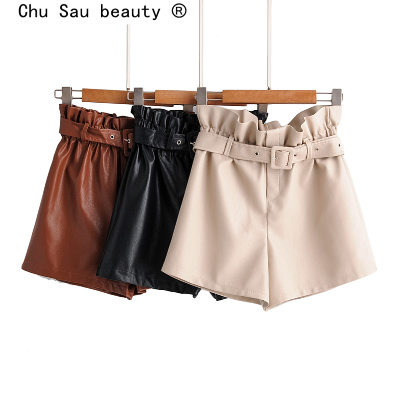 Chu Sau Beauty 2019 New Fashion Casual Chic PU Skin Shorts Women Streetwear Style Sashes Short Trousers Female Shorts De Moda