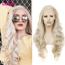 Imstyle kül sarışın dantel ön peruk sentetik saç uzun dalgalı peruk kadınlar için tutkalsız yüksek sıcaklık Fiber doğal saç peruk