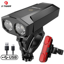 X TIGER Bike Light Waterproof Bicycle Light USB Rechargeable Outdoor MTB Bicycle Lamp With Power Bank Headlight Bike Accessories