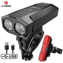 X TIGER vélo lumière étanche vélo lumière USB Rechargeable extérieur vtt vélo lampe avec batterie externe phare vélo accessoires