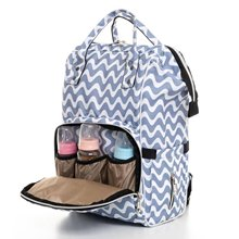 White Gray Wave Pattern Mother Baby Backpack