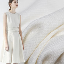 Pearlsilk White Tweed 100%Linen Flax Fabrics Garment Materials Autumn Jacket Dre