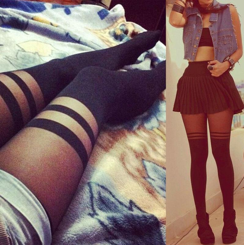 2019 Autumn Winter Girls Temptation Sheer Mock Suspender Tights Black Striped Sexy Stocking Women Pantyhose Stockings