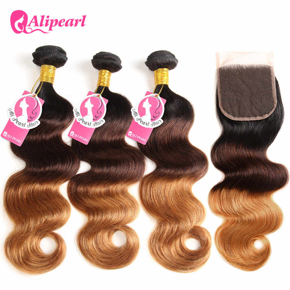 AliPearl Hair 1B/4/30 Ombre Brazilian Body Wave Hair 3 Bundles Human Hair Bundles With Closure 10-24 Inch Remy Hair Extensions